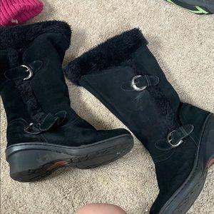 Black fleece buckle, zip up heeled boots